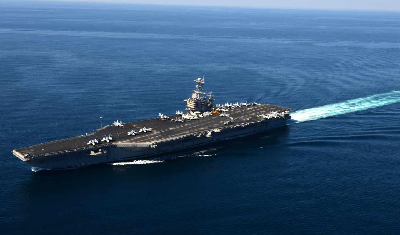 корабль, оружие, авианосец, море, синее,