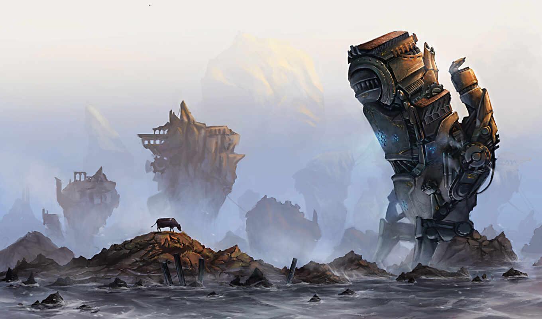 камни, скалы, море, cow, механизм, гигант, robot,