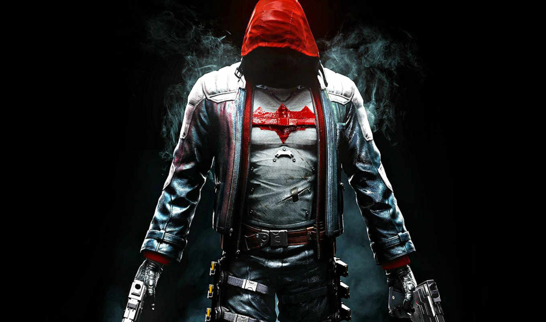 batman, arkham, рыцарь, red, капюшон,