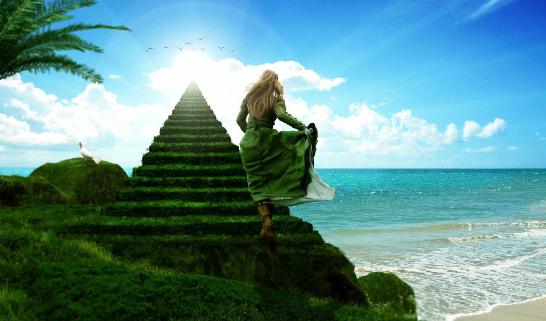 лестница, небо, heaven, stairway, море, девушка, zeppelin, led, rendering,