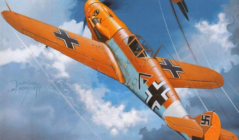 рисунок, bf, вторая, мессершмитт, мировая, немцы, люфтваффе, самолет, messerschmitt, авиация,