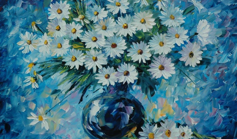 gallery, afremov, светлана, картина, ромашки, ваза,