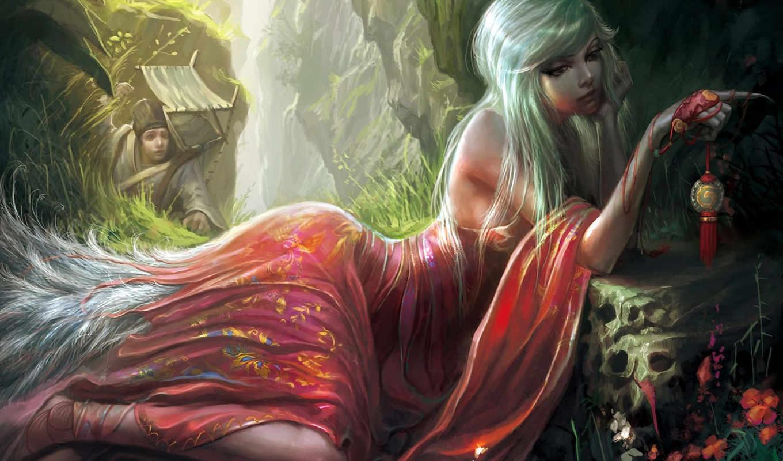 девушка, сверхсущества, магия, арт, картинку, картинка, цветы, когти, медальон, хвост, ущелье, кнопкой,