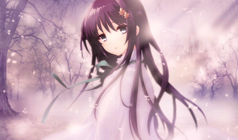 anime, heart, flyable, cute, hair, picture, туман, девушка, лепестки, изображение, black,