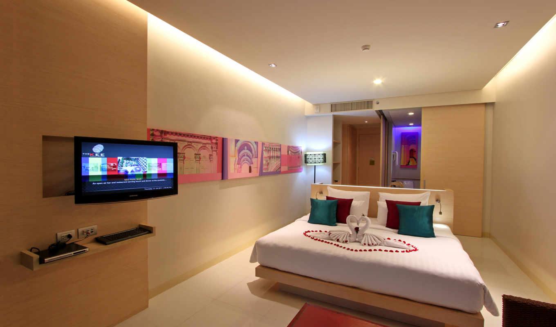 интерьер, спальня, тв, кровать, картины,