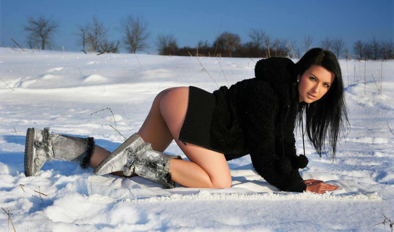 winter, снег, brunette, girls, angel, природа, ан, без,