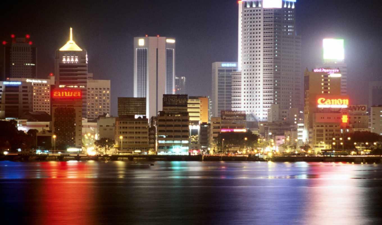 города, ночь, dubai, река, город, tokyo, ночного,