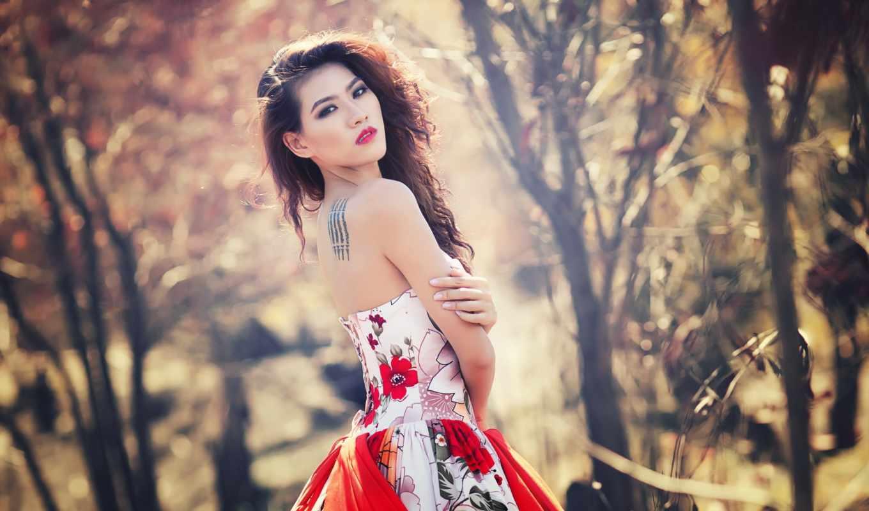 lovely, девушка, bokeh, asian, desktop, free,