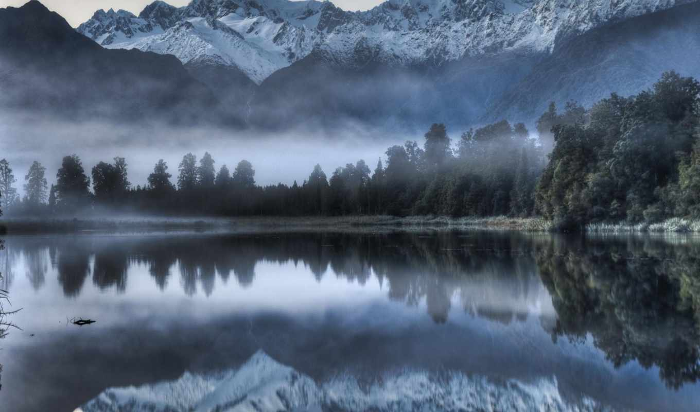 озеро, matheson, new, zealand, отражение, mount,