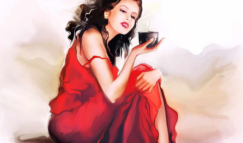девушка, coffee, платье, красном, который, будет, чи, надо,