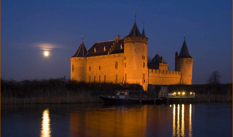 castle, ночь, muiderslot, озеро, landscape