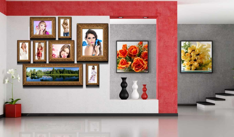 вазы, комната, картинами, завешена, горшок, цвет, interior,
