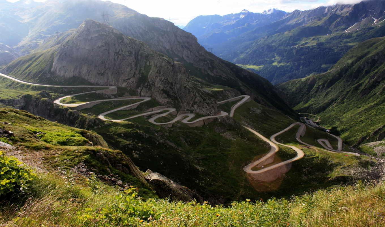 горы, дорога, природа, серпантин, марта,