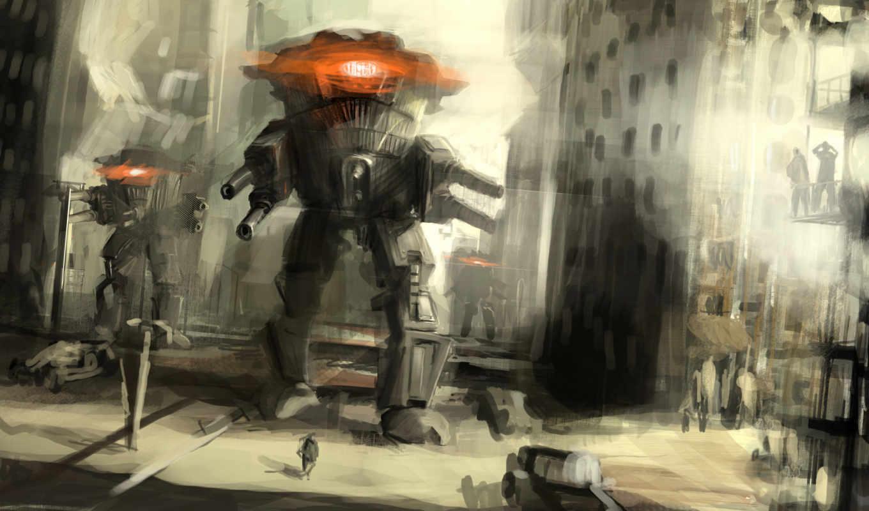 фантастика, город, оружие, мира, рисунок, люди, фантастики, роботы, техника, фэнтези,