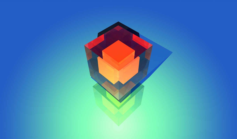 куб,красный,голубой, куб в кубе,