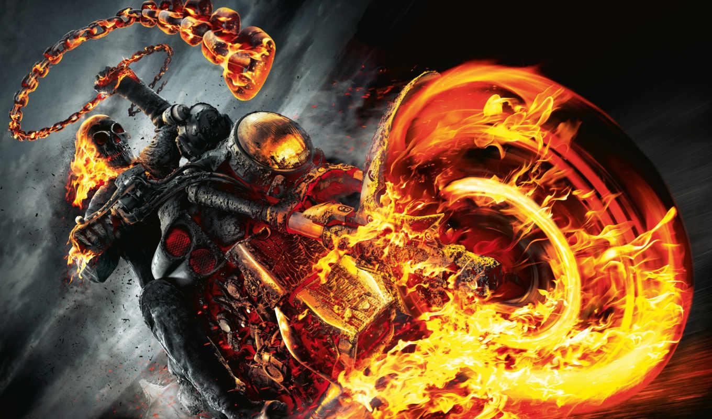 гонщица, ghostly, всадник, ghost, art, infernal, демон, огонь, biker,