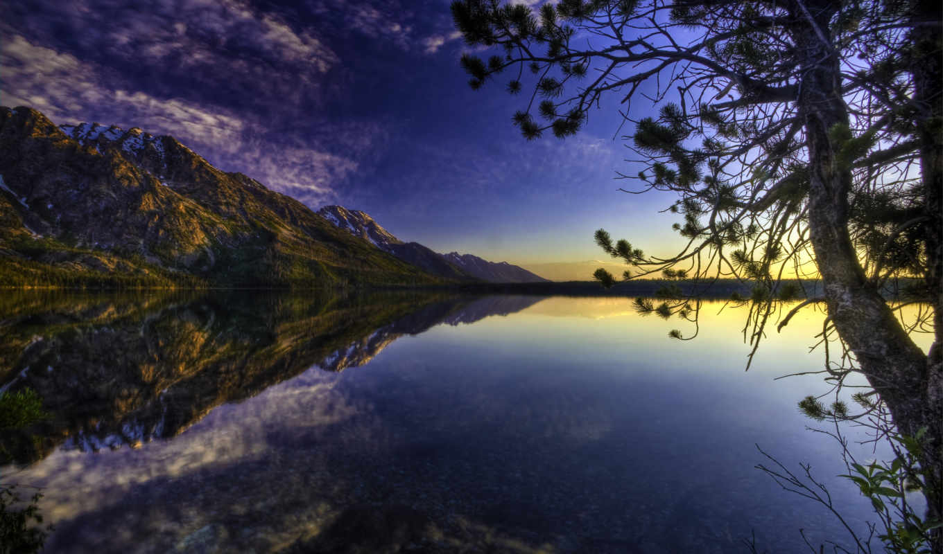 lake, nature, дерево, landscapes, отражение, горы, пейзаж, desktop, high, clouds, mountains, definition, reflections, trees,