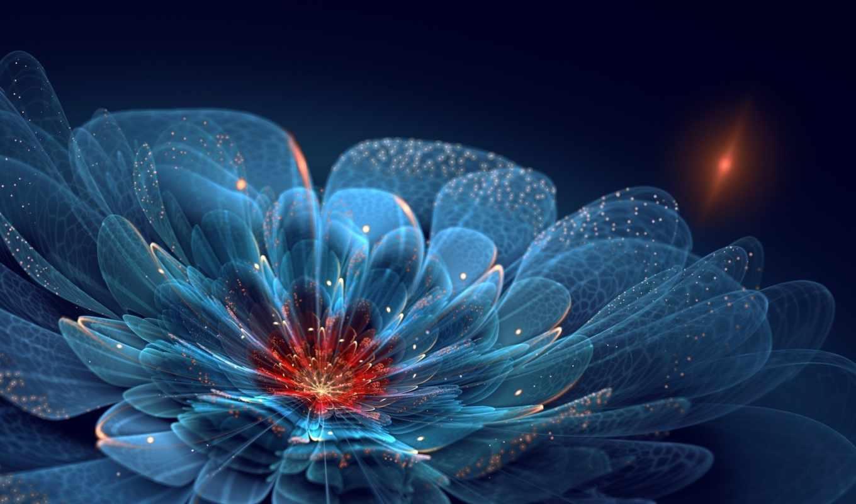 neon, blue, flowers, flower, лепестки, арт, искры, sparkles, where, изображение, petals,