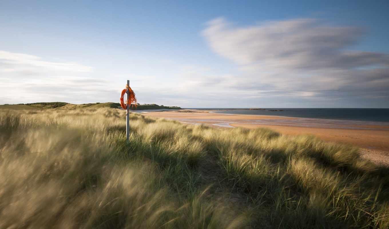 великобритания, англия, море, песок, трава, берег, природа,