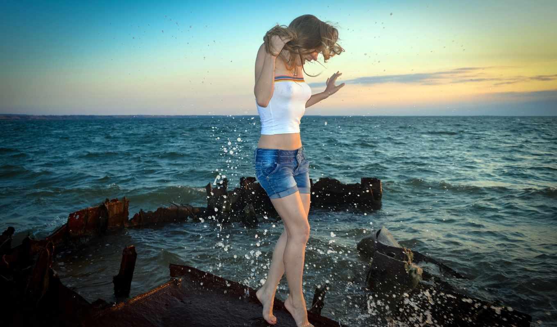 море, девушка, blonde, шорты, брызги, капли, топик,