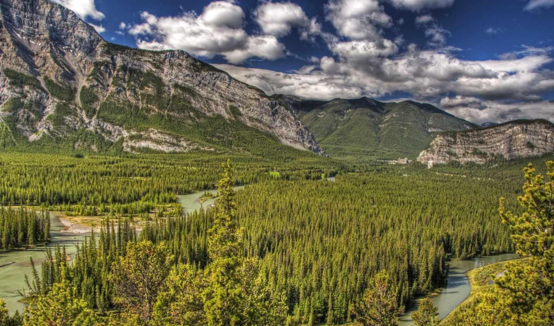 landscape, горы, park, лес, канада, природа,