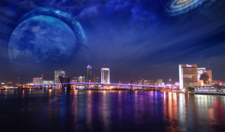 города, огни, water, dreamy, world, небоскребы, photoshop, большого, город,