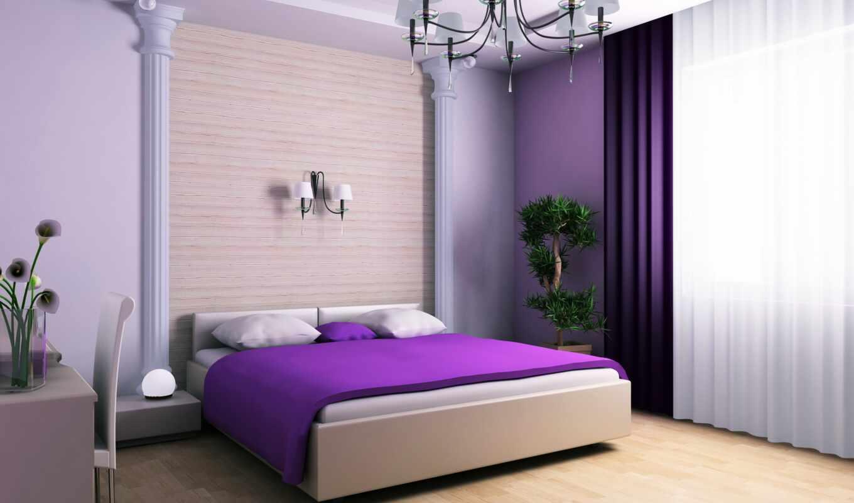 curtain, спальня, purple, интерьер, сиреневый, design