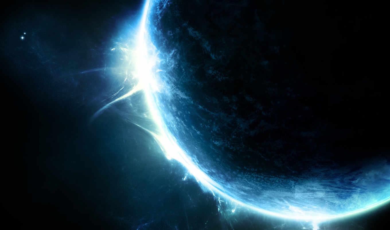 планета, свечение, звезды, картинка, sunrise,