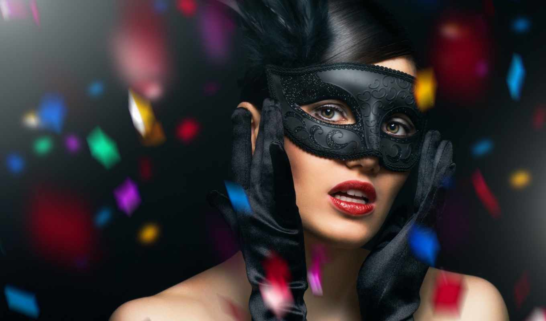перчатки, маска, карнавал, прическа, загадка, перья, конфетти, взгляд, девушка, zatvorenih, картинку, širom, očiju,