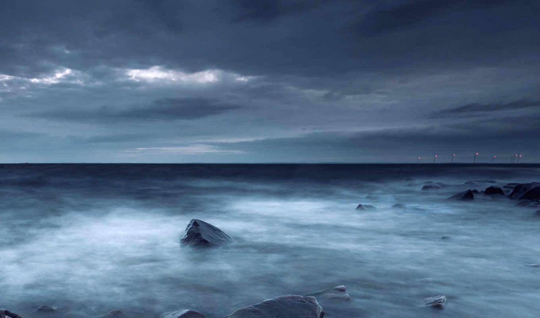 море, камни, берег, швеция, coast, evening, clouds, sky, тучи,