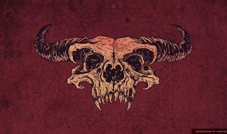 череп, рисунок, красный, рога, минимализм,
