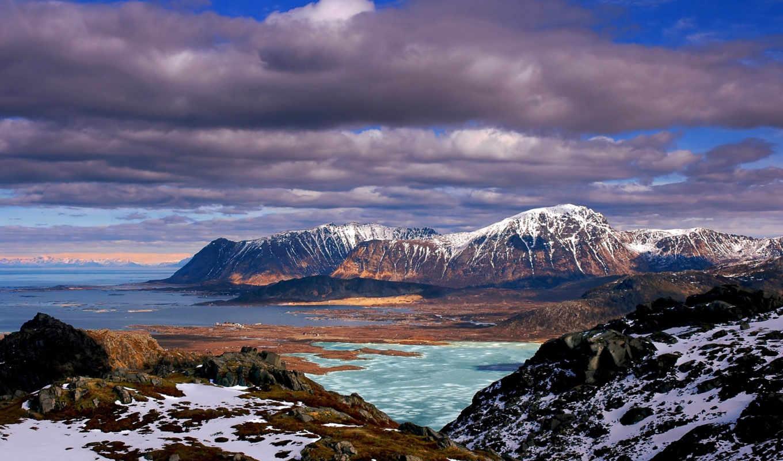 горы, разных, дек, снег, разрешениях, море, весна,