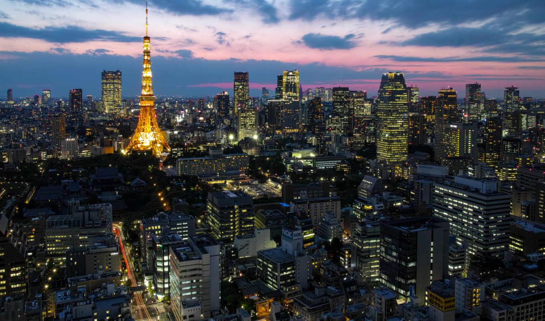 tokyo, коллекция, картинок, широкоформатные, ночь, башня, desktopwallpape, дек,