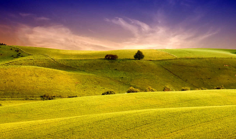 landscape, поле, небо, холмы, трава, margin, природа, пейзажи -,