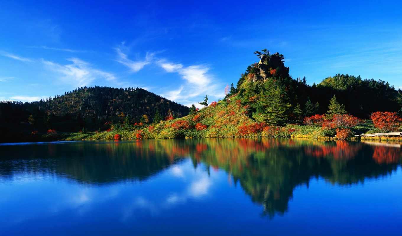 природа, озера, японии, заставки, горы, берег, пейзажи -, озеро,