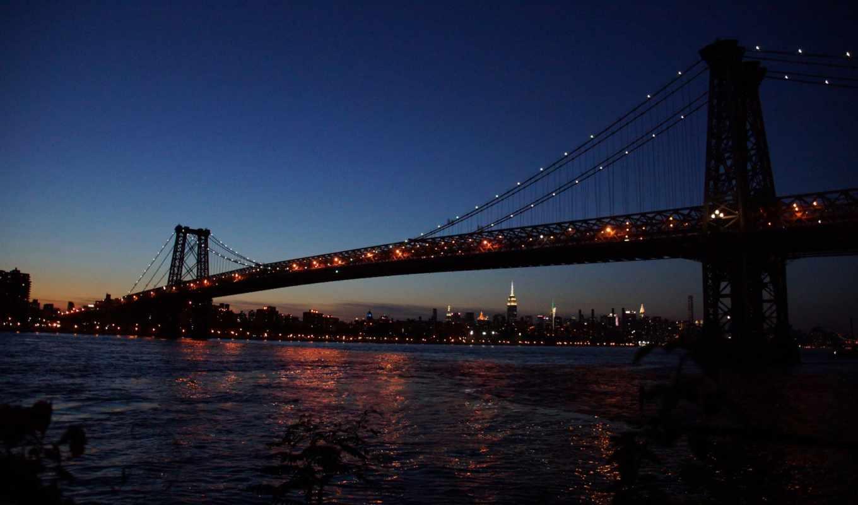 подвесной, мост, ночь