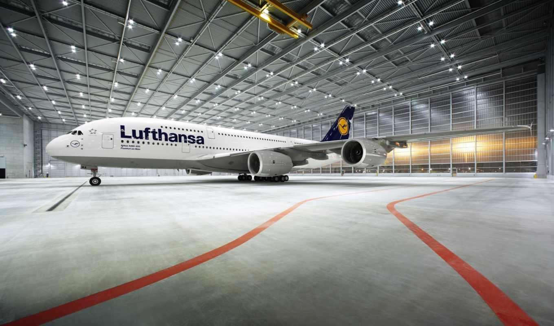 airbus, lufthansa, ангар, облака, самолёт, пассажирский, лайнер, аэропорт, картинка,
