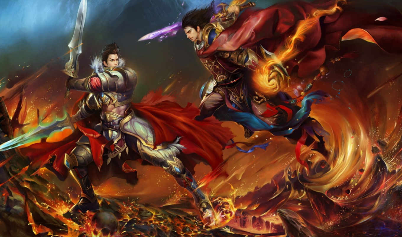 world, perfect, battle, меч, парни, череп, магия, огонь, игры, оружие, гвг, fantasy, копим, лава,