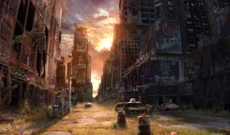 сказание, разруха, город, закат, свой,