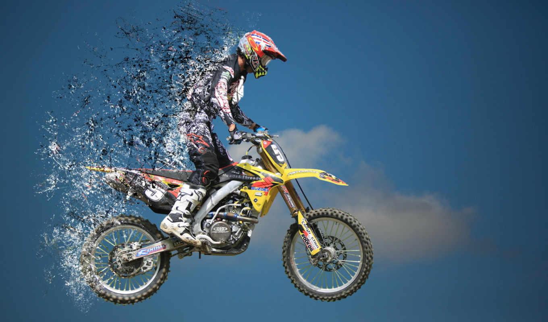 мотоцикл, прыжок, спорт, bike, splatter,