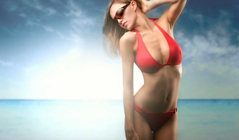 девушка, devushki, купальник, очки, купальнике, красном, горизонт, море, свет,