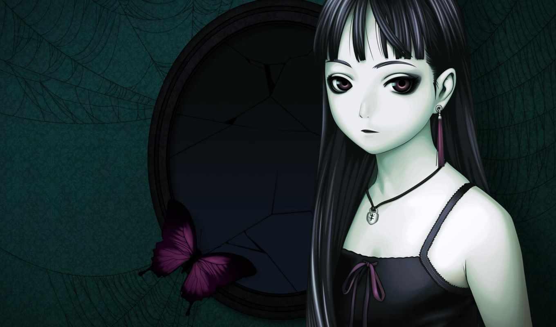 аниме, обои, обоев, девушка, бабочка, паутина, грудь, зеркало