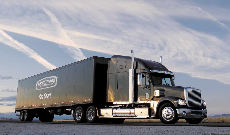 новых, грузовик, прицепом, freightliner,