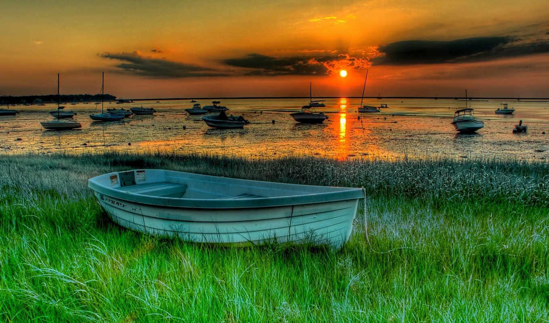 закат, лодки, лодка, boats, hdr, стоящая, landscape, природа, озера, июня,