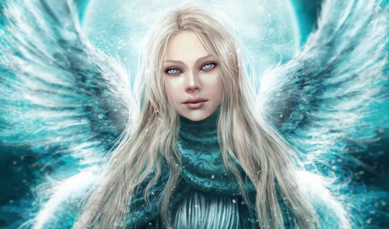 angel, девушка, wings, взгляд,