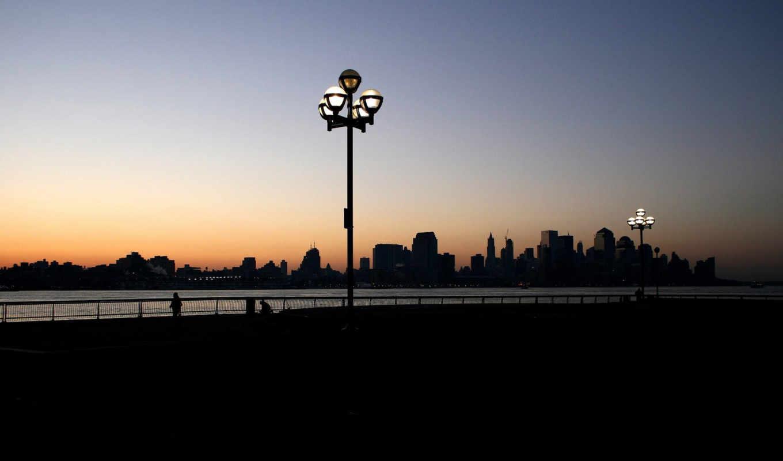 город, bit, dark, вечер, набережная, фонари