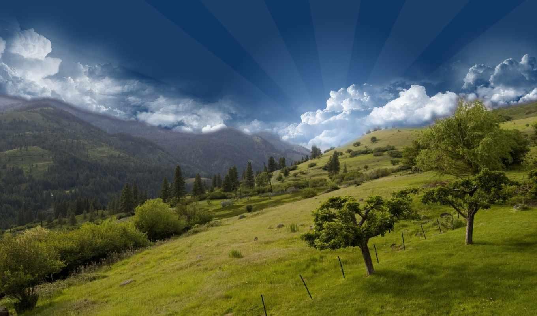 горы, природа, небо, oblaka, trees, трава, гора,