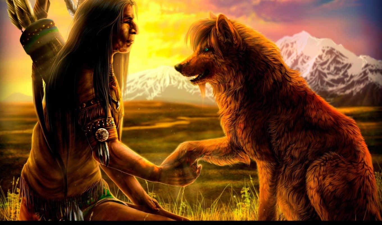 индеец, закат, собака, стрелы, горы, дикая, поле, перья, картинка, картинку,