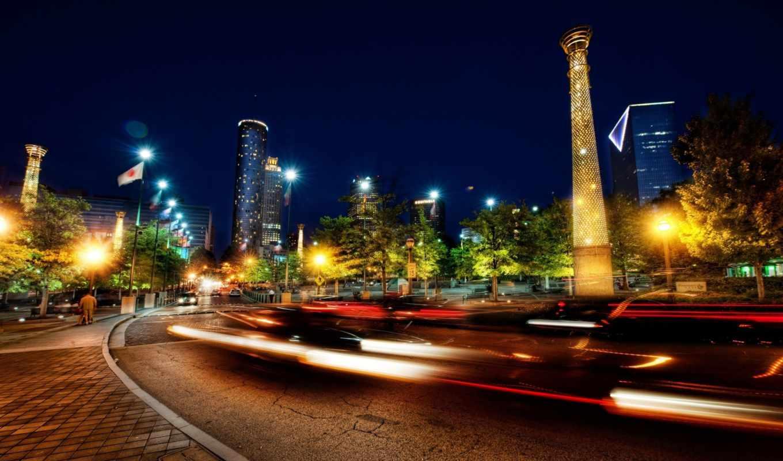 atlanta, города, ночь, дорога, park, люди, огни, дороги, картинку, nights, свет, машины, лучи, света,