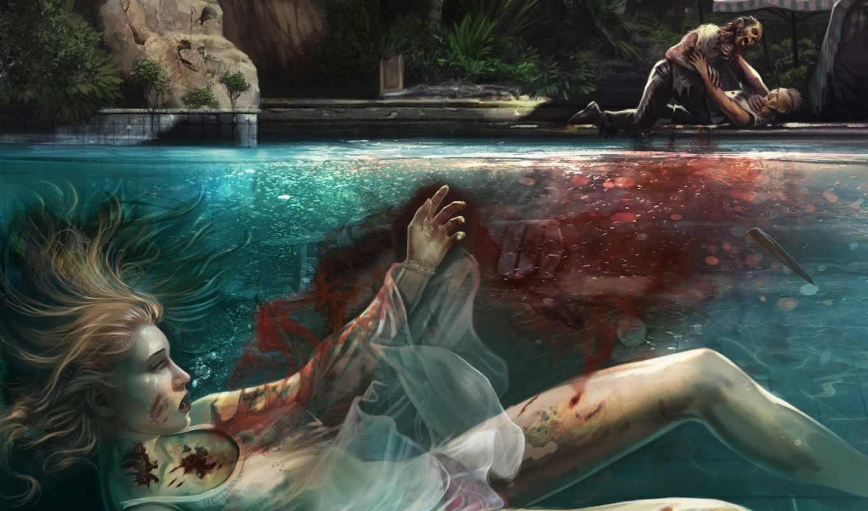 dead, кровь, island, вода, труп, бассейн,